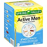 Spring Valley Active Men Daily Vitamin Pack Dietary Supplement 30 ct Box