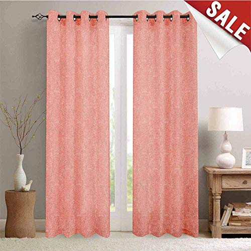 (Hengshu Peach Customized Curtains Soft Colored Background with Crowns and Floral Abstract Motifs with Faded Look Monochrome Window Curtain Drape W108 x L108 Inch Coral)