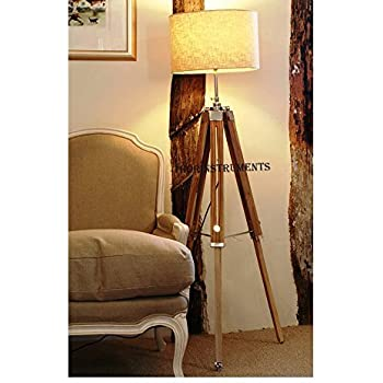 Charming Vintage Classic Teak Wood Tripod Floor Lamp Nautical Floor Home Decor Lamp