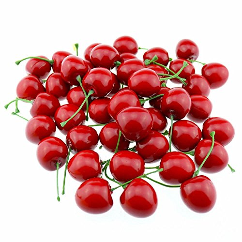 (gootrades Artificial Lifelike Simulation Red Cherries Fake Fruit for Party Decoration (Pack of 50))