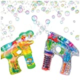ArtCreativity Bubble Blasters Shooter Guns Pack of 2, Includes 1 Dinosaur Shooter Gun with Exciting Sound Effects and 1 Transparent LED Gun. Battery Operated - for Age 5+ - Best Gift for Kids
