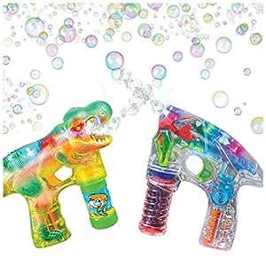 ArtCreativity Bubble Guns for Kids - Flashing Light Up Shooter & Sounds Bubble Blower - Bubble Machine Toys - 1 LED Dinosaur bubble gun, 1 Light Up gun, & 3 Bubble Solution Refills