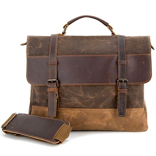 Kopack Waterproof Laptop Briefcase 15.6 inch Waxed Canvas Genuine Leather Bag - Leather Briefcase Cotton