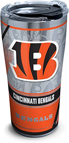Tervis 1266033 NFL Cincinnati Bengals Edge Stainless Steel Tumbler with Clear and Black Hammer Lid 20oz, Silver