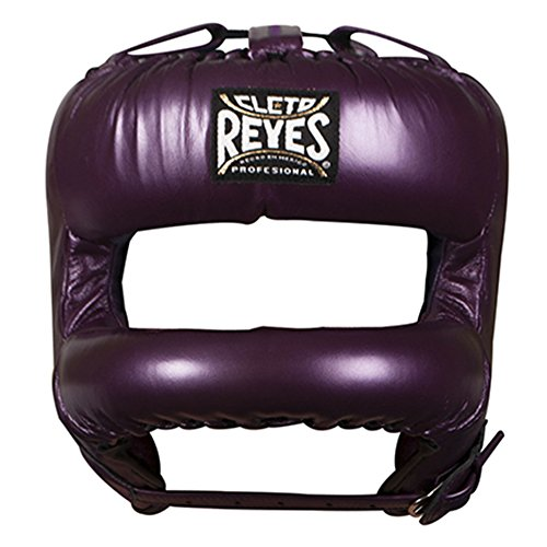 Headgear Gloves Boxing (Cleto Reyes Redesigned Headgear with Rounded Nylon Face Bar Wide Space Inside - Purple)