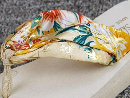 Da.Wa Sandalias y Chanclas Zapatos de Verano Femenino Cinturón de Tela de Seda Parte Inferior Gruesa Para Interior y Playa