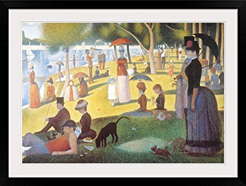 Buyartforless Framed A Sunday Afternoon on The Island of La Grande Jatte (A River Bank) by Georges Seurat 40x30 Pointillist Museum Art Print Poster MATTED