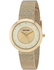 Armitron Womens 75/5454CMGP Swarovski Crystal Accented Gold-Tone Mesh Bracelet Watch