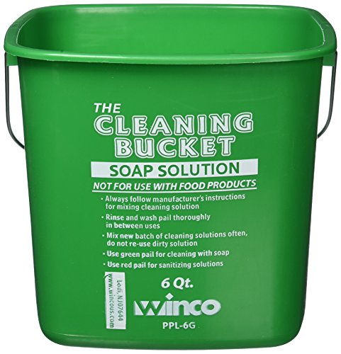 (Winco PPL-6G Cleaning Bucket, 6-Quart, Green Soap Solution)