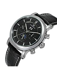 Fanmis Men's Automatic Mechanical Moon Phase Calendar Watch Black Leather Strap Silver & Black