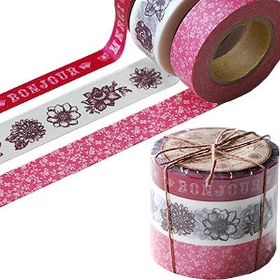 Japanese Washi Masking Tape Set of 3 - Coffret Ducouturier Floral Red Floral Coffret