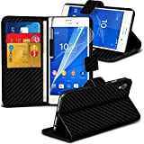 xperia z3 carbon case - ( Sony Xperia Z3 ) Black Carbon Fiber Case Movie PU Leather Wallet Flip With Credit / Debit Card Slot Case Skin Cover With LCD Screen Protector Guard & Mini Retractable Stylus Pen by ONX3®