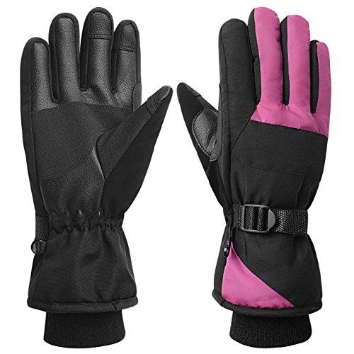 Women Waterproof Windproof Ski Gloves, 3M Thinsulate Snowboard Snowmobile Glove,Rose - Snowmobiles Red
