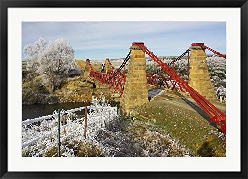 (Historic Suspension Bridge, Taieri River, Sutton, Otago, South Island, New Zealand by David Wall/Danita Delimont Framed Art Print Wall Picture, Black Frame, 40 x 29 inches)