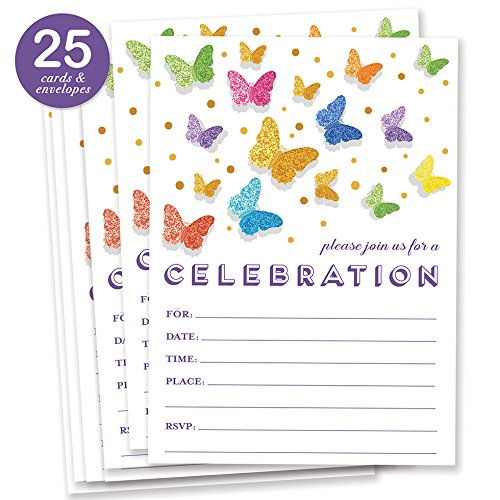 Rainbow Butterfly Invitations with Envelopes ( Pack of 25 ) Any Occasion Large 5x7