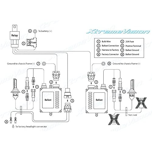 xtremevision h4  9003 single beam hid battery wiring relay harness 12v 40 amp 35w  55w for hid