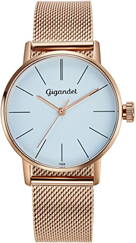 Gigandet Women's Quartz Watch Minimalism Analog Stainless Steel Bracelet Rose Gold Blue G43-020