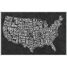 USA Airports Abbreviation Code Grey Poster 18x12