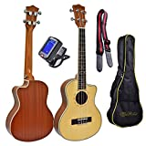 Tenor, 26 Inch Cutaway, Spruce Top, Mahogany Body Ukulele Bundle with 4 Items: Tuner, Uke Strap, Installed Strap Pins and Carrying Gig Bag. Setup, Inspected, Guaranteed for Playability and Intonation