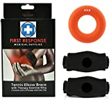 Health & Personal Care : First Response Medical Supplies Tennis Elbow Brace 2 Pack With Compression Therapy Ring Neoprene Compression Gel Pad Support & Adjustable Velcro Straps For All Arm Sizes