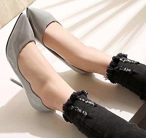 Idifu Donna Eleganti Scarpe A Punta Tacco Alto A Spillo Indossare Scarpe Da Lavoro Grigie