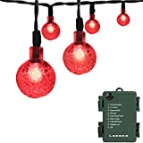 LOENDE Romantic Red Battery Operated String Lights - 21ft 30 LED 8 Mode Waterproof Globe String Lights for Valentine's - Christmas Tree - Wreath - Wedding - Party - Patio Decor