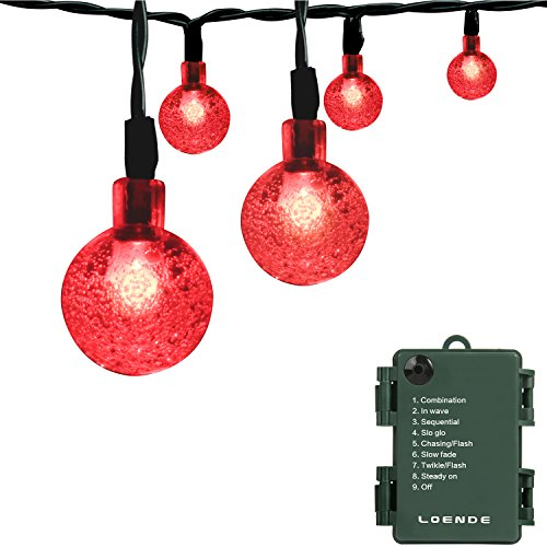 LOENDE Romantic Red Battery Operated String Lights, 21ft 30 LED 8 Mode Waterproof Globe String Lights for Valentine's, Christmas Tree, Wreath, Wedding, Party, Patio Decor
