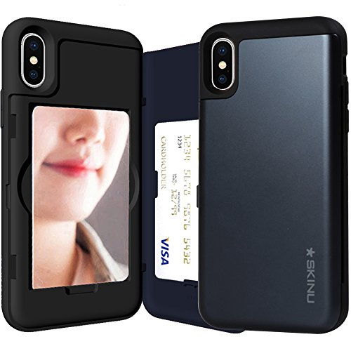 iPhone XS Case, Credit Card Holder ID Slot Mirror Card Case SKINU [iPhone XS Card Wallet Case] with Mirror for Apple iPhone XS (2018) - Metal Slate