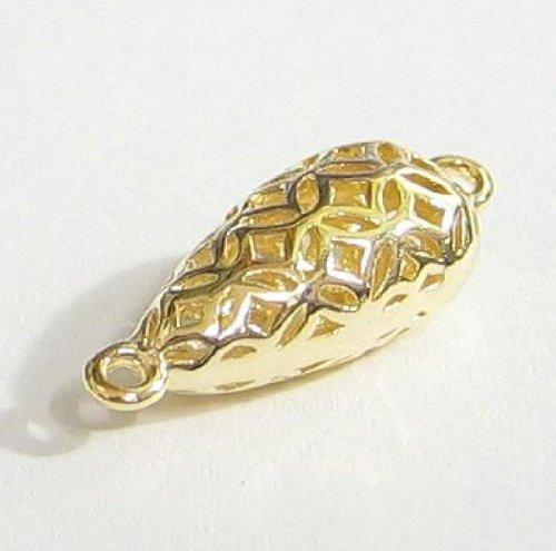 1 pc 14K Gold on .925 Sterling Silver Filigree Flower Link Teardrop 20.6mm Chandelier Pendant / Earring Dangle Connector / Findings / Yellow Gold