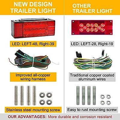 TOPNEW 12V Submersible Rectangular Trailer Light Kit (Rectangular Trailer Light Kit): Automotive