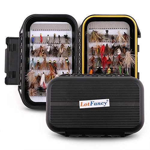 LotFancy 60 PCS Dry/Wet Flies for Fly Fishing with Waterproof Fly Box - Nymph Flies, Woolly Bugger Flies, Streamers, Emergers, Caddis Fly Assortment for Trout Bass Salmon