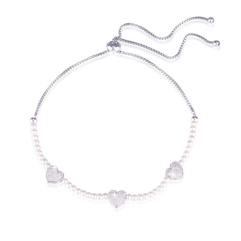 Jeka Silver Love Heart Charms Pearl Anklets Bracelet Women Dainty Barefoot Sandal Foot Adjustable