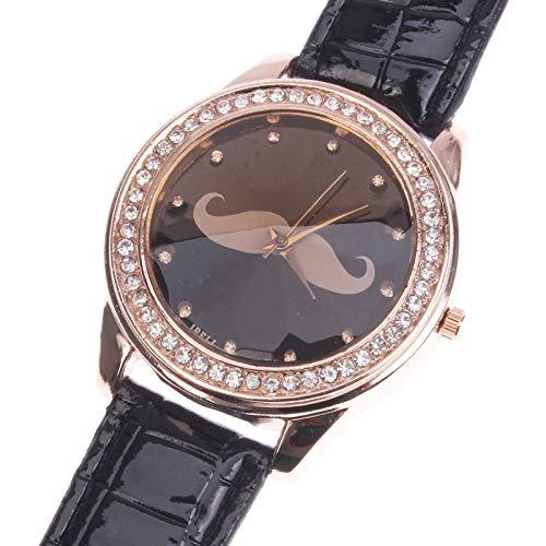 Reloj Diamante la mode a la Mode decoración (falso) barba cuarzo con PU banda piel negro: Amazon.es: Relojes
