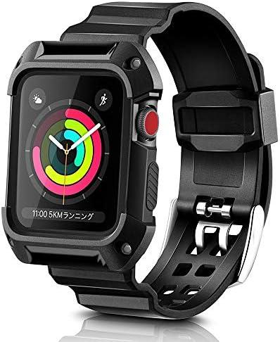 [해외]NN. ORANIE 호환 Apple Watch 42mm 악대 사례 도대체 식 밴드 스포츠 밴드 Apple Watch 커버 애플 시계 밴드 교체 벨트 운동 형 충격 흡수와 발한 긁힘 방지 Apple Watch Serie S 123 (블랙, 42mm) / Nn. ORANIE Compatible Apple Watch 42mm Band C...