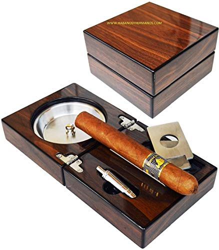 New 1 Set Cigar Ashtray, Solid Wooden Box Stainless Steel Ashtray + Cigar Punch+Cutter+Holder Portable Foldable