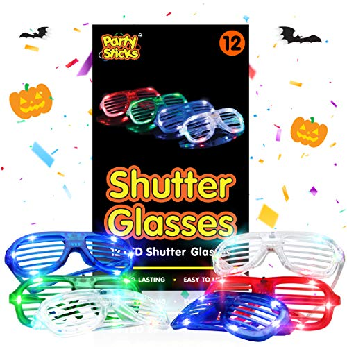 PartySticks LED Light Up Glasses - 12pk Neon Flashing Shutter Glasses, Glow in The Dark Party Supplies w/ 3 LED Settings
