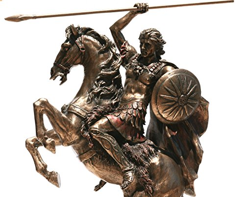 (Veronese Alexander The Great on Horse Greek King Warrior Statue Sculpture Figure Bronze Finish 12.4)