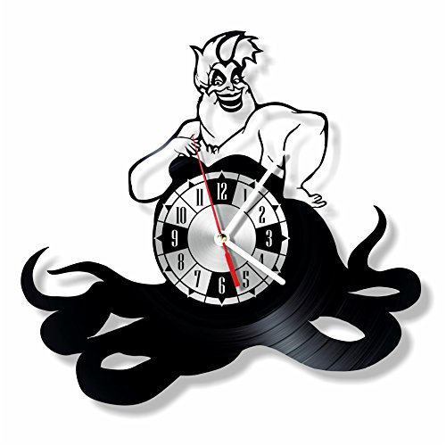NiceIdeas4Home THE LITTLE MERMAID URSULA wall clock made from vintage vinyl record wonderful handmade gift for your loved -