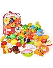BeebeeRun Corte de Frutas y Alimentos Falsos,Alimentos Juguetes Niños 3 Años,Accesorios de Cocina