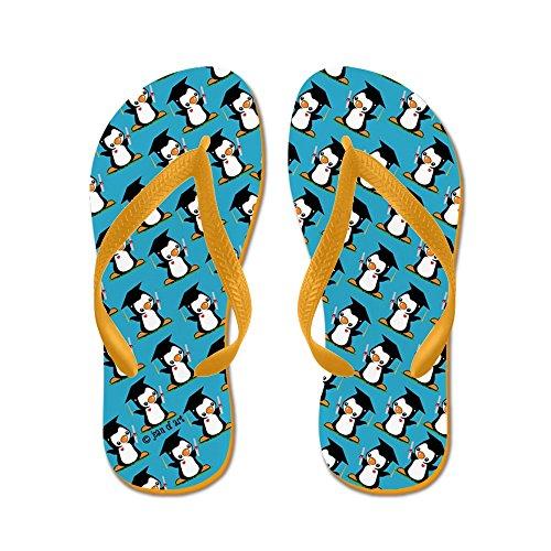 CafePress Graduation Penguin (3) - Flip Flops, Funny Thong Sandals, Beach Sandals Orange