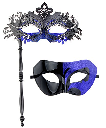 IETANG One Pair Couple's Gorgeous Venetian Masquerade Masks Party Costumes Accessory (on Stick-Black&Blue)