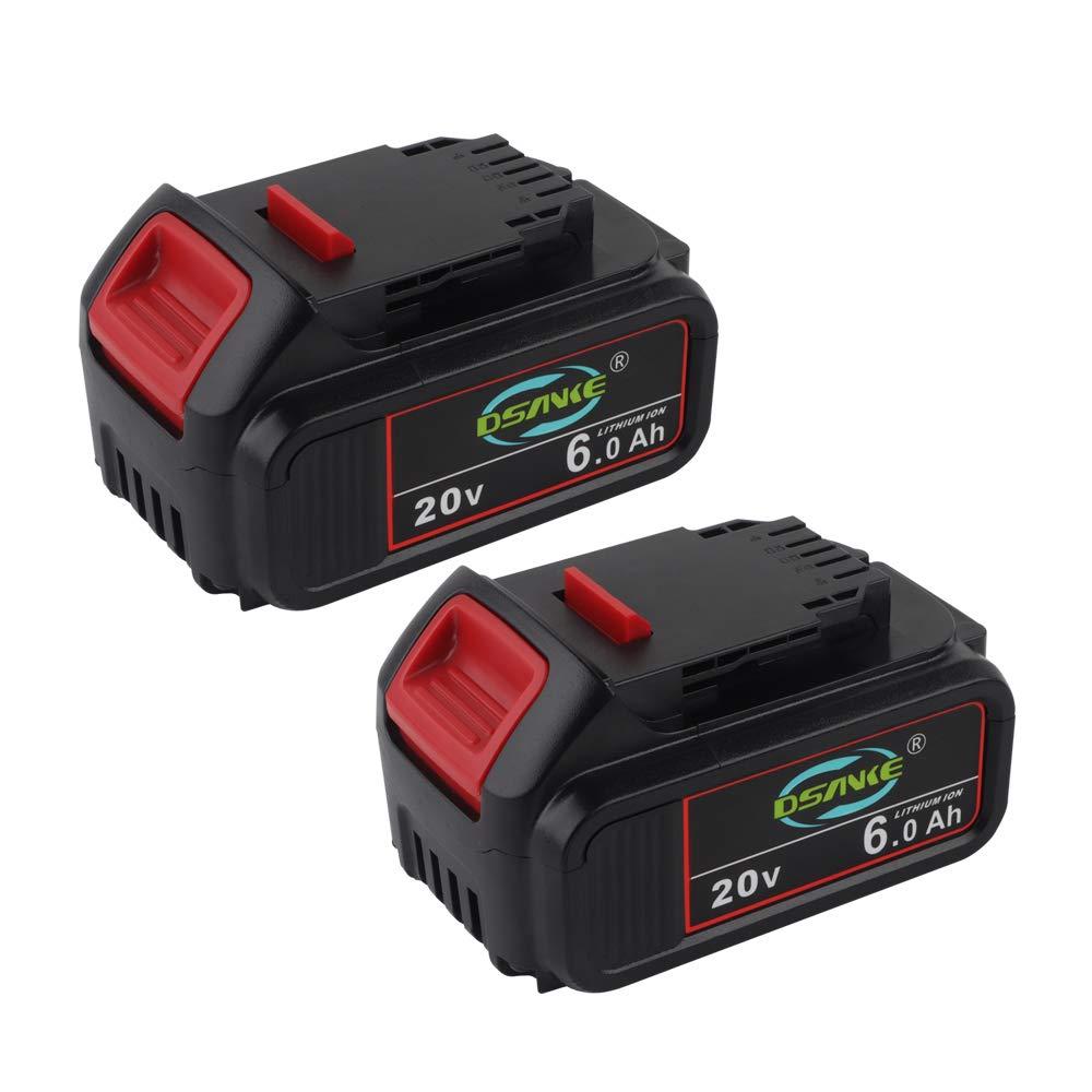 Tenhutt 2Pack 20V MAX 6.0Ah Lithium Ion Premium Battery for DEWALT DCB204 DCB205 DCB206 DCB205-2 DCB200 DCB180 DCD985B DCD771C2 DCS355D1 DCD790B