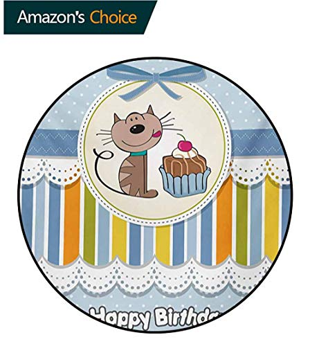 RUGSMAT Kids Birthday Print Area Rug,Present Wrap Like Image with Chocolate Cake Figure and Kitten Party Perfect for Any Room,Floor Carpet,Diameter-51 Inch Baby Blue and ()