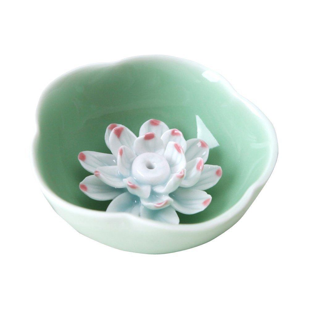 Amazon nsstar lotus water lily flower ceramic incense holder amazon nsstar lotus water lily flower ceramic incense holder burnerashtray bowl style green home kitchen izmirmasajfo