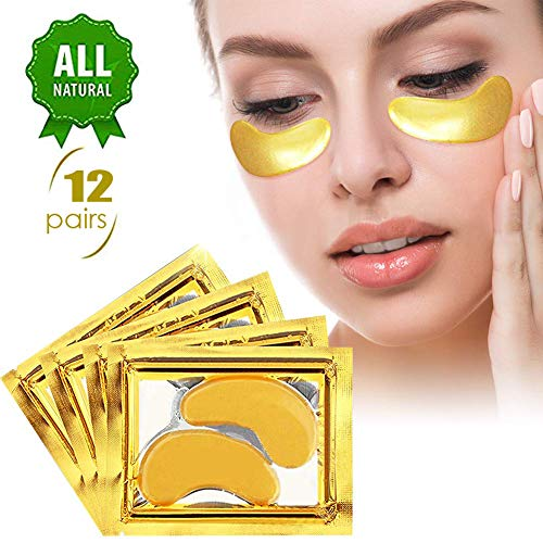 (Under eye patches, gold eye masks Crystal Collagen Gold Eye Mask Patches (12 Pairs) for Women and Men to Anti Aging,dark circles under eye treatment and Puffiness,Moisturising,Hydrating)