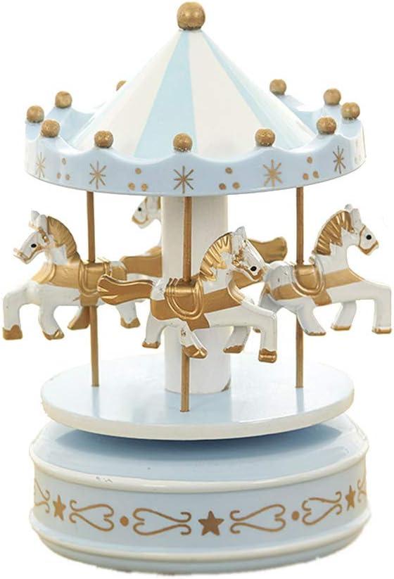 bo/îte /à Musique Vintage Exquis Artisanat Anniversaire Cadeaux de No/ël Home Decor Cadeau pour Filles Enfants Dot-Blue MINGZE Bo/îte /à Musique en Bois carrousel