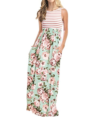 (MEROKEETY Women's Striped Floral Print 3/4 Sleeve Tie Waist Maxi Dress with Pockets)