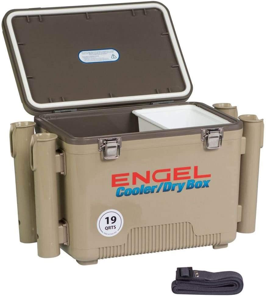 ENGEL Cooler Dry Box with 4 Rod Holders – 19 Qt – Tan