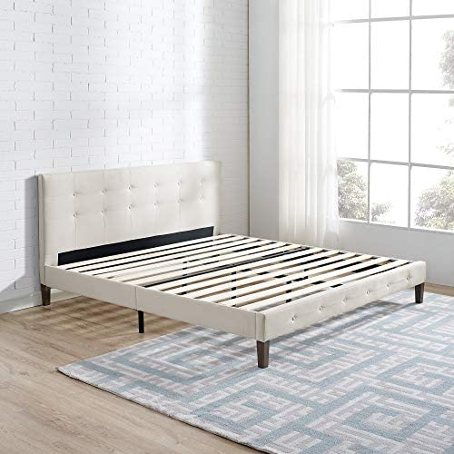 Classic Brands DeCoro Seattle Modern Tufted Upholstered Platform Bed Headboard and Wood Frame with Wood Slat Support, King, Peyton Shell