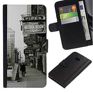 YiPhone /// Tirón de la caja Cartera de cuero con ranuras para tarjetas - Oldschool Nueva York Street Signs - HTC One M8